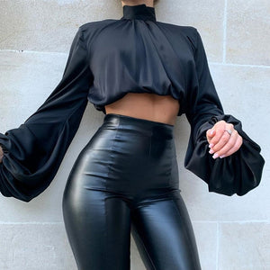 Leopard Turtleneck Satin Silk Women Blouse Sexy Hollow Out Backless Shirt Blouse Elegant Autumn Long Sleeve Pleated Top Blusa XL - Y O L O Fashion Store
