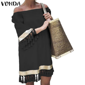 2020 VONDA Summer Sundress Women Sexy Off Shoulder Party Dress Female Vintage Mini Dress Holiday Casual Plus Size Vestidos 5XL - Y O L O Fashion Store