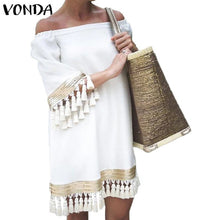 Load image into Gallery viewer, 2020 VONDA Summer Sundress Women Sexy Off Shoulder Party Dress Female Vintage Mini Dress Holiday Casual Plus Size Vestidos 5XL - Y O L O Fashion Store
