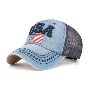 Baseball Cap Washed Embroidered Mesh Hat Donald Trump 2020 US Election Headwear Unisex Casual Streewear Baseball Caps BAG4202