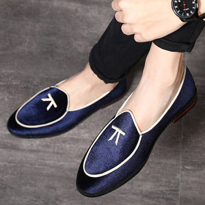 2020 Men's Fashion Silk Velvet Leather Shoes New Style Designer Shoes Men Formal Shoes Flat Breathable Slip-on Loafers Plus Size