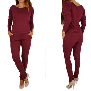 High Quality Spring Summer Women Jumpsuit Fashion Elegant Off Shoulder Casual Long Sleeve Jumpsuits Lady Boysuit - Y O L O Fashion Store