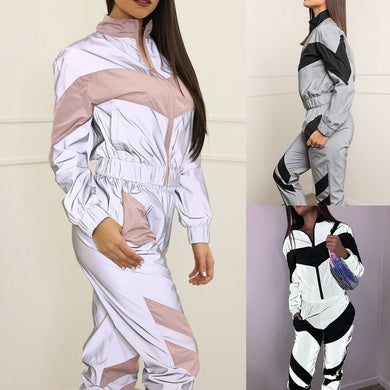 2020 New Yoga Set Women Reflective Tracksuit Splicing Long Sleeve Zipper Top Sports Wear for Women Gym Clothing 2 Piece mujer