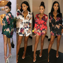 Load image into Gallery viewer, Women Floral Satin Silk Long Sleeve Ladies T Shirt Tops Loose Short Mini Dress Summer Beach Dress