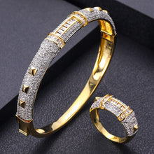 Load image into Gallery viewer, jankelly  luxury Unique Bangle Ring Set  For Women Crystal CZ Dubai Jewelry Set - Y O L O Fashion Store