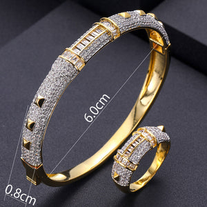 jankelly  luxury Unique Bangle Ring Set  For Women Crystal CZ Dubai Jewelry Set - Y O L O Fashion Store