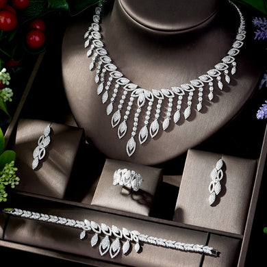 HIBRIDE Luxury Style Growing Leaves With AAA Cubic Zircon Elegant Jewellry Sets Earring Necklace for Women Attending PartyN-1218 - Y O L O Fashion Store