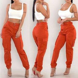Women's Military Combat Trousers New Ladies Solid Color Cargo Long Pants Fashion Female High Waisted Army Trousers With Pockets - Y O L O Fashion Store