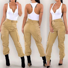 Load image into Gallery viewer, Women's Military Combat Trousers New Ladies Solid Color Cargo Long Pants Fashion Female High Waisted Army Trousers With Pockets - Y O L O Fashion Store