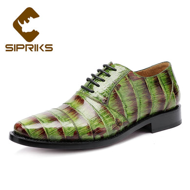 Sipriks Luxury Imported Singapore Crocodile Belly Skin Dress Shoes Mens Green Handmade Sewing Welted Oxfords Calf Leather Sole
