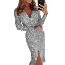 Load image into Gallery viewer, Elegant Sequined Glitter Party Dress Women Sexy V Neck Bodycon Slim Glitter Dress Vestidos Long Sleeve Ladies Club Party Dresses - Y O L O Fashion Store