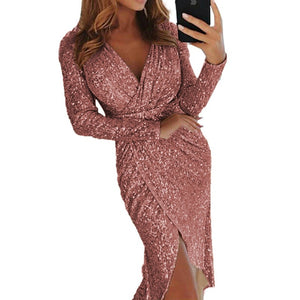 Elegant Sequined Glitter Party Dress Women Sexy V Neck Bodycon Slim Glitter Dress Vestidos Long Sleeve Ladies Club Party Dresses - Y O L O Fashion Store