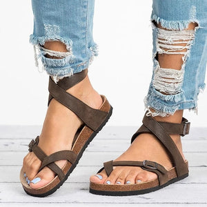 Basic Women Sandals 2020 New Women Summer Sandals Plus Size 43 Leather Flat Sandals Female Flip Flop Casual Beach Shoes Ladies