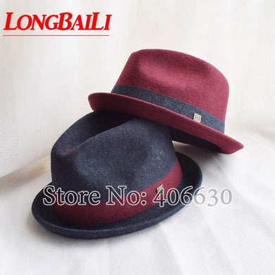 Winter 60cm Big Headsize Wool Felt Fedora Hats For Men Chapeau Masculino Patchwork Trilby Cap Free Shipping PWFE008 - Y O L O Fashion Store