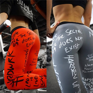2019 New Fashion Letter Print Leggings Women Slim Fitness High Waist Elastic Workout Leggings for Gym Sport Running Europe Size - Y O L O Fashion Store
