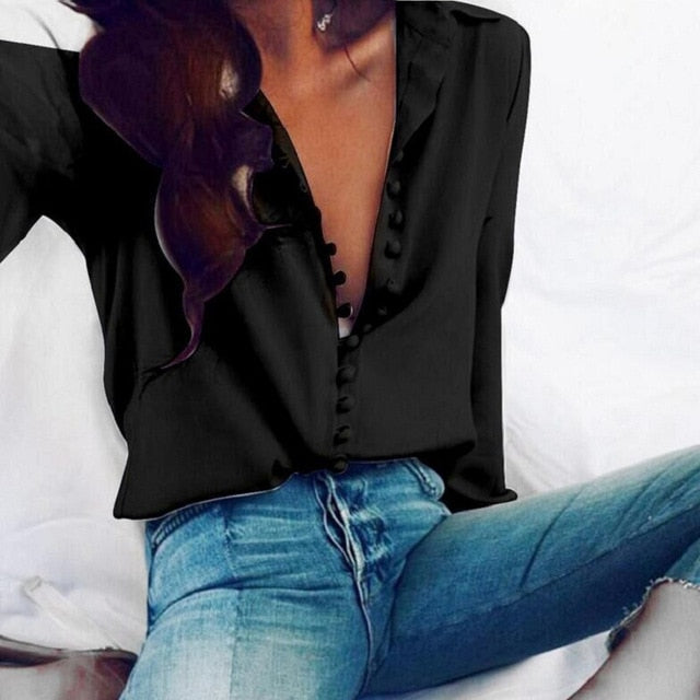 CROPKOP Fashion Casual Solid Color ladies office Tops Sexy Buttons Long sleeve Blouse 2019 new Spring Women Chiffon white Shirt - Y O L O Fashion Store