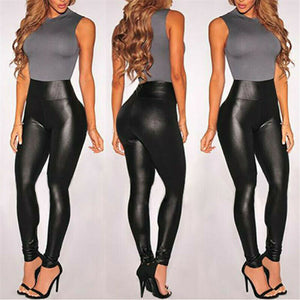Summer Black Faux Leather Leggings For Women High Waist Skinny Push Up Leggings Sexy Elastic Trousers Ladies Stretch Leggings - Y O L O Fashion Store