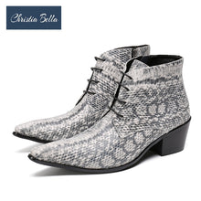 Load image into Gallery viewer, Christia Bella Winter Snake Skin Men Shoes Genuine Leather Boots Fashion Pointed Toe Boots Large Size Ankle Lace up Boots - Y O L O Fashion Store