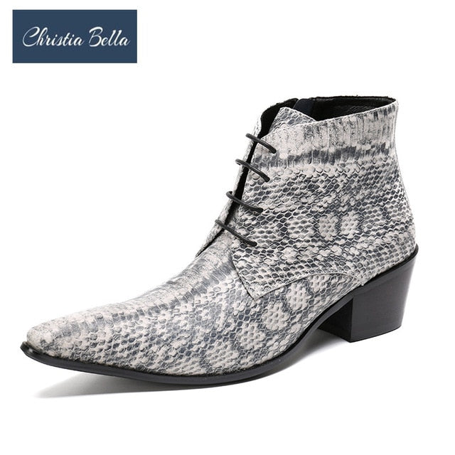 Christia Bella Winter Snake Skin Men Shoes Genuine Leather Boots Fashion Pointed Toe Boots Large Size Ankle Lace up Boots - Y O L O Fashion Store