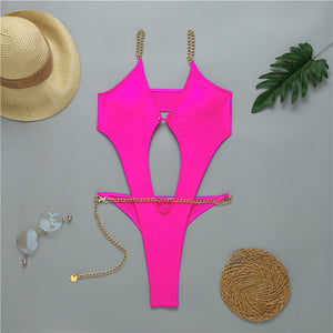 Sexy thong bikini 2020 Push up swimwear women High cut bodysuits one-piece swimsuit female Ring monokini Deep v-neck bathers new