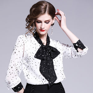 2020 new  women's  fashion blouse temperament lady bow decoration color contrast collar star all over Chiffon Shirt Top - Y O L O Fashion Store