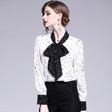 Load image into Gallery viewer, 2020 new  women's  fashion blouse temperament lady bow decoration color contrast collar star all over Chiffon Shirt Top - Y O L O Fashion Store