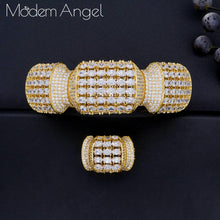 Load image into Gallery viewer, ModemAngel luxury Unique African Bangle Ring Set Jewelry Sets For Women Wedding Cubic Zircon Crystal CZ Dubai Bridal Jewelry Set