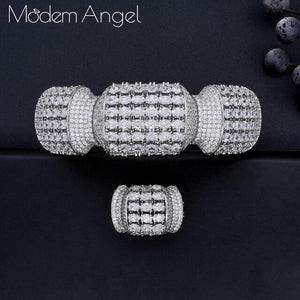 ModemAngel luxury Unique African Bangle Ring Set Jewelry Sets For Women Wedding Cubic Zircon Crystal CZ Dubai Bridal Jewelry Set
