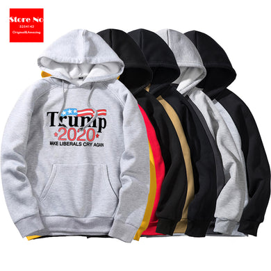 Donald Trump costume 2020 Make Liberals Cry Again Hoodie Funny Jumper Long Sleeve Letter Print Comfortable Pullover Hoodie Top