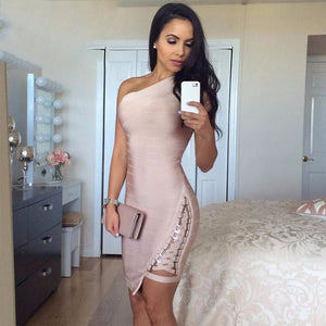 2019 New Summer Bandage Dress Women Celebrity Sleeveless One-Shoulder Sequined Sexy Night Out Party Dress Women Bodycon Vestidos - Y O L O Fashion Store