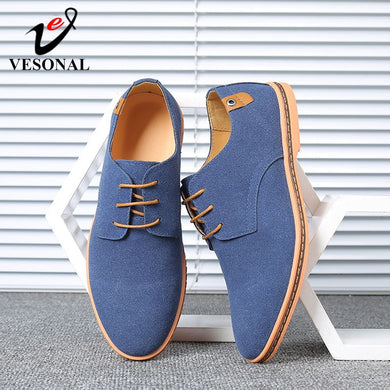 VESONAL Brand 2019 Spring Suede Leather Men Shoes Oxford Casual Classic Sneakers For Male Comfortable Footwear Big Size 38-46 - Y O L O Fashion Store