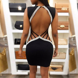 Sexy Black Party Dress Women Ladies Elegant Bandage Bodycon Sleeveless Backless Cocktail Club Short Mini Dress - Y O L O Fashion Store
