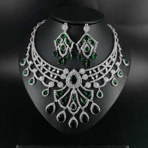2020 new fashion luxury green water drop zircon necklace earring set,wedding bride dinner party dress jewelry free shipping - Y O L O Fashion Store