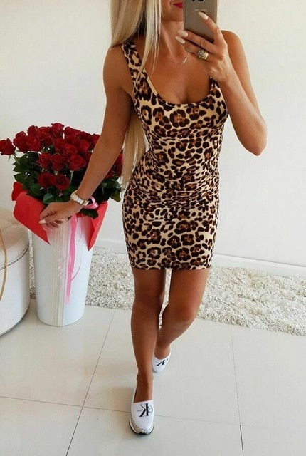 Sexy Leopard Print Short Dress Women 2019 Summer Slip Holiday Beach Party Night Club Mini Dress Ladies Clothes