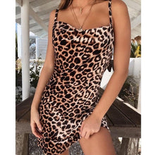 Load image into Gallery viewer, Sexy Leopard Print Short Dress Women 2019 Summer Slip Holiday Beach Party Night Club Mini Dress Ladies Clothes