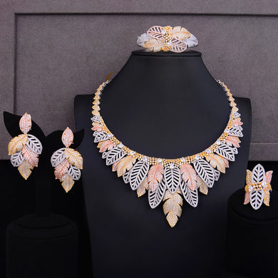 LARRAURI Luxury Cubic Zirconia Grape Flower Blossom African Indian Necklace Earring Sets For Women Nigerian Wedding jewelry sets - Y O L O Fashion Store