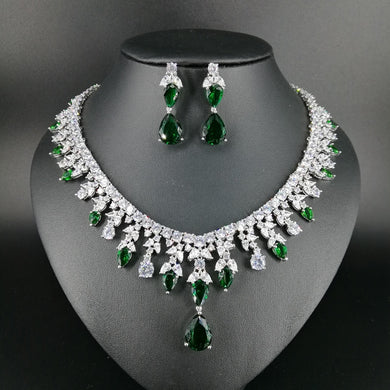 2019 new fashion green water drop popular zircon wedding bride banquet formal dress necklace earring jewelry set free shipping - Y O L O Fashion Store