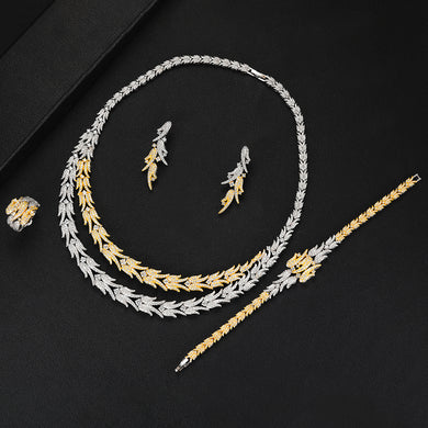 LARRAURI Italian 4PCS Necklace Earrings Bracelet Ring for Noble Pearl Luxury Women Bridal Wedding Engagement Jewelry Sets 2019 - Y O L O Fashion Store