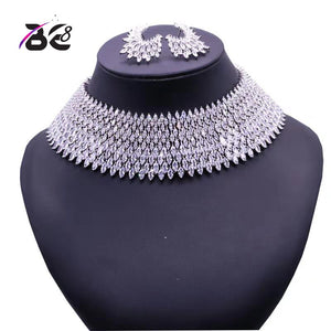 Be 8 Luxury Crystal Bridal Jewelry Sets White Color Pendant Necklace Earrings Sets Wedding African Beads Jewelry Set S125 - Y O L O Fashion Store