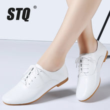 Load image into Gallery viewer, STQ 2020 Spring Women Oxford Shoes Ballerina Flats Shoes Women Genuine Leather Shoes Moccasins Lace Up Loafers White Shoes 051 - Y O L O Fashion Store