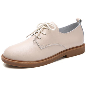 STQ 2020 Spring Women Oxford Shoes Ballerina Flats Shoes Women Genuine Leather Shoes Moccasins Lace Up Loafers White Shoes 051 - Y O L O Fashion Store