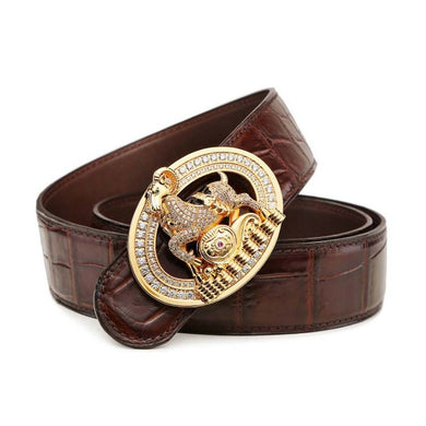 LINSHE  new  crocodile  The belt  men  The real thing  luxury  big  The belt  metal  Antelope head  Smooth buckle  men belt - Y O L O Fashion Store