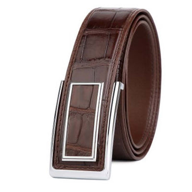 LINSHE men  crocodile  The belt  business  Men's  Smooth buckle men belt  The new   belt  leisure  Genuine  leather  belts - Y O L O Fashion Store
