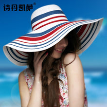 Load image into Gallery viewer, Ms. Summer Korean Beach Hat Sun Protection Sun Hat Tourist Beach Big Straw Hat Straw Hat