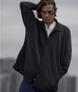 MIYAKE pleats baggy shirt  ins man pleated shirts free shipping