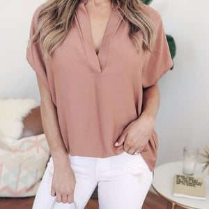 KANCOOLD tops high quality Ladies Chiffon V-Neck Solid Short Sleeve Casual Tops T-Shirt summer tops for women 2018 ap26 - Y O L O Fashion Store