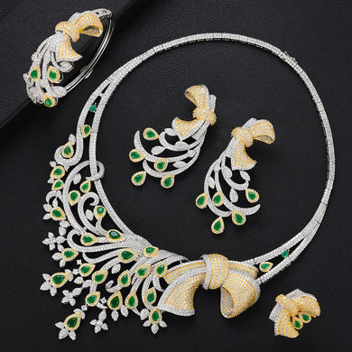 LARRAURI Brand 2020 Luxury Flower African Cubic Zircon CZ Nigerian Jewelry sets For Women Wedding Indian Bridal Jewelry Sets - Y O L O Fashion Store