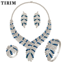 Load image into Gallery viewer, TIRIM 4pcs Big sets Cubic zircon Blue white broken shells Drip oil Ring Bangle Earring Necklace luxury wedding bridal jewelry - Y O L O Fashion Store