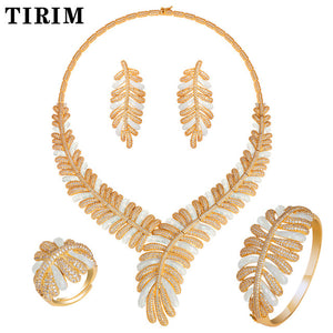 TIRIM 4pcs Big sets Cubic zircon Blue white broken shells Drip oil Ring Bangle Earring Necklace luxury wedding bridal jewelry - Y O L O Fashion Store