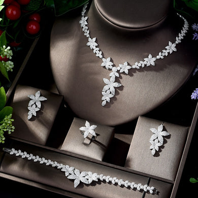 HIBRIDE Tiny CZ Micro Paved Leaf Shape Statement Necklace Bridal Luxury White Color Wedding Jewelry Set For Women Bijoux N-1212 - Y O L O Fashion Store